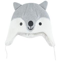 Bonnet péruvien loup en tricot doublé sherpa