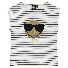 Junior - Tee-shirt manches courtes rayé avec sequins magiques