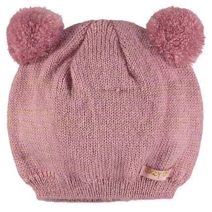 Bonnet en tricot et fil pailleté avec pompons fantaisie