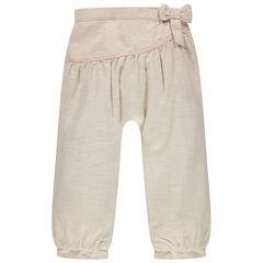 Pantalon doublé jersey à  noeud et détails cousus