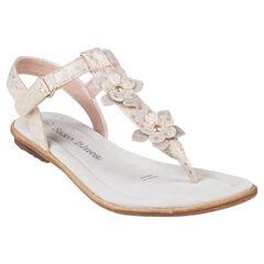 Nu-pieds dorés avec patchs fleurs fantaisie du 28 au 35