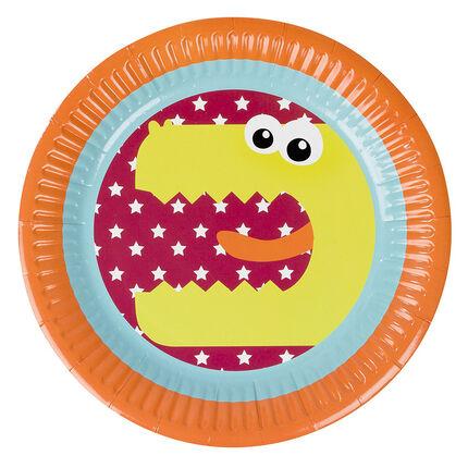 Lot de 10 assiettes anniversaire en carton motif dragon