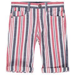 Junior - Bermuda en coton avec rayures contrastées