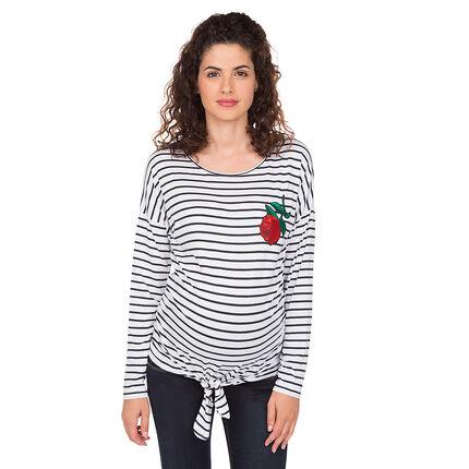 Tee-shirt de grossesse manches longues rayé avec rose bordée