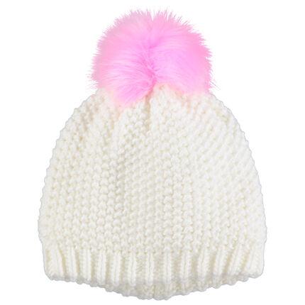 Bonnet en tricot doublé avec pompon