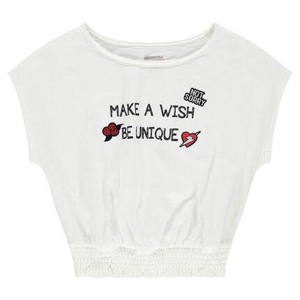 Junior - Tee-shirt manches courtes forme boîte avec message printé