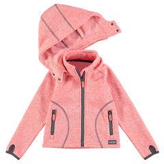 Gilet de ski en polaire chiné à capuche amovible et poches zippées