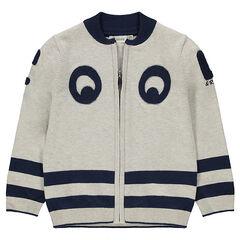 Gilet en tricot zippé avec rayures et patchs en bouclette
