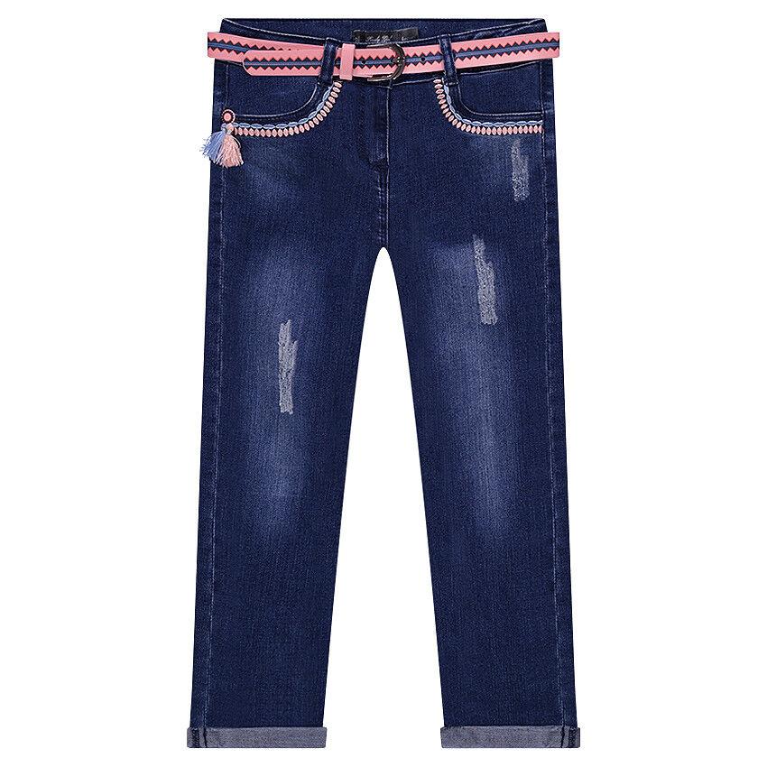 Jeans effet used et crinkle avec ceinture amovible et broderies