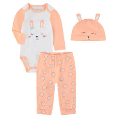 264ea1baea67 Ensemble de naissance avec pyjama body et bonnet print lapin