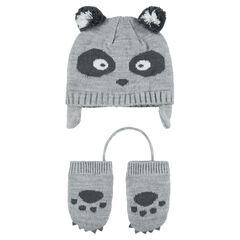 Ensemble Bonnet péruvien motif panda avec moufles en tricot 3691f8caf02