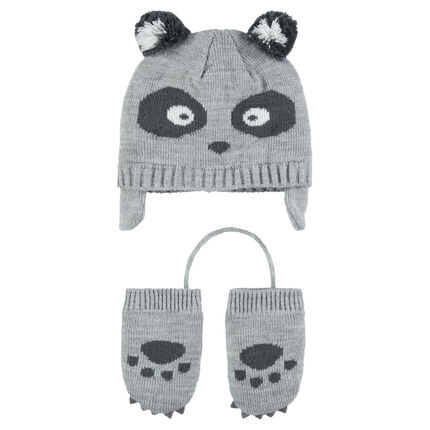 Ensemble Bonnet péruvien motif panda avec moufles en tricot ... 79710c58011