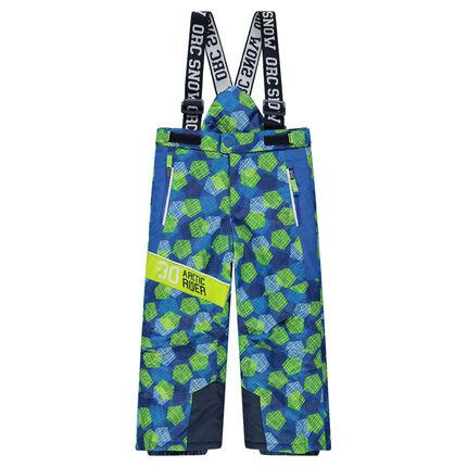 Pantalon de ski avec imprimé graphique all-over et bretelles amovibles