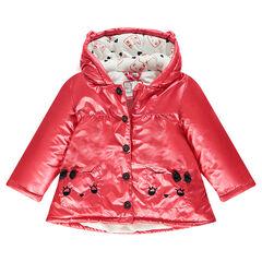 Parka rose doublée sherpa avec poches forme chat
