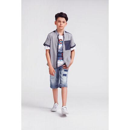 Junior - Chemise à petits carreaux all-over avec détails en chambray