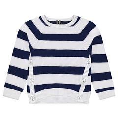 Pull en tricot style marinière avec découpes asymétriques
