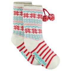 Chaussettes antidérapantes de Noël avec motif jacquard