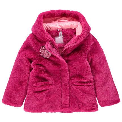 Manteau en sherpa à capuche doublé sherpa