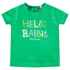 "Tee-shirt manches courtes surteint avec print ""Hello Rabbit"""