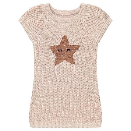 Robe manches courtes en tricot avec étoile en sequins magiques