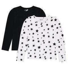 Junior - Lot de 2 Tee-shirt manches longues uni/imprimé étoiles