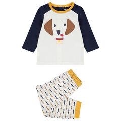 Pyjama en jersey avec chien brodé