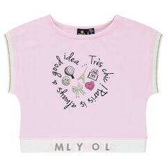 Tee-shirt court en jersey avec print ©Smiley