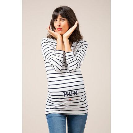 T-shirt de grossesse manches longues rayé print fantaisie