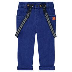 Pantalon en velours bleu à bretelles amovibles