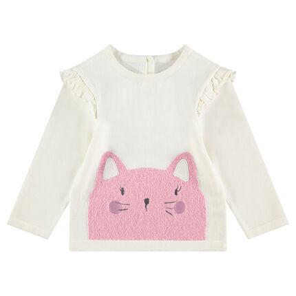 Pull en tricot avec emmanchures volantées et boutonnage dos
