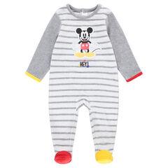 Dors-bien en velours rayé avec Mickey patché Disney