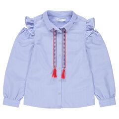 Junior - Chemise manches longues rayée avec épaules ajourées et frises brodées