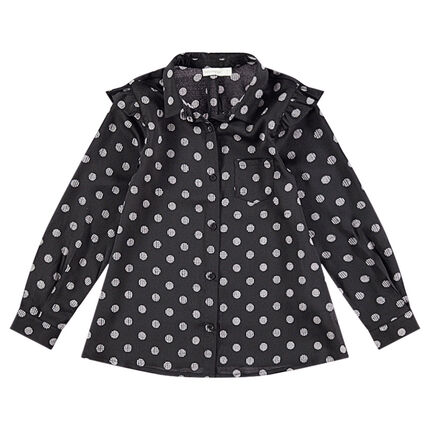 Chemise manches longues en coton à pois all-over avec poche