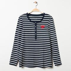 T-shirt manches longues homewear de grossesse rayé , Prémaman