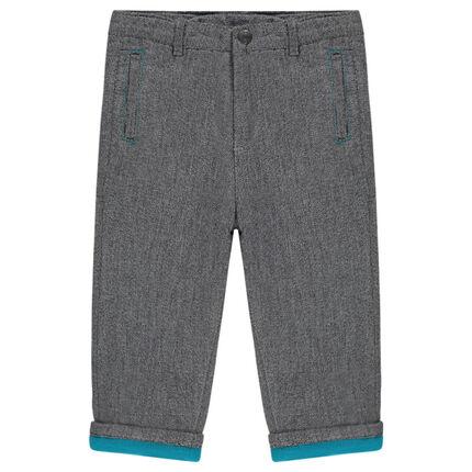 Pantalon en coton fantaisie doublé micropolaire