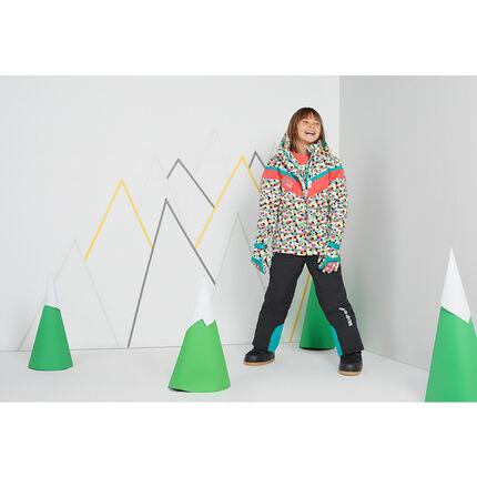 Junior - Blouson de ski motif graphique avec capuche amovible