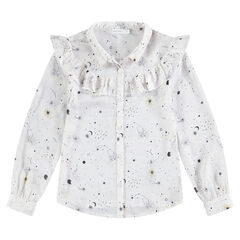 Junior - Chemise manches longues avec motif galaxie all-over