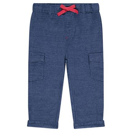 Pantalon en coton fantaisie à taille élastiquée et poches