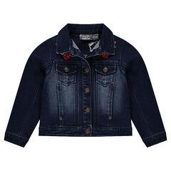 Veste en jeans effet used avec broderies florales