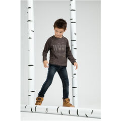 Jeans effet used et crinkle avec ceinture amovible et finition frangée