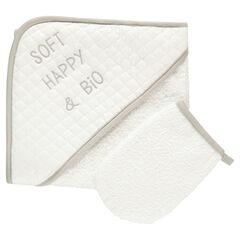 Set de bain cape et gant de toilette en coton éponge bio