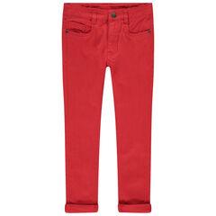 Pantalon à poches uni effet used et crinkle