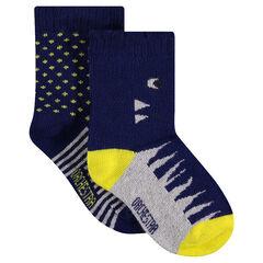 Lot de 2 paires de chaussettes assorties à motif jacquard fantaisie