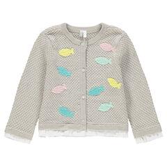 Gilet en tricot fantaisie avec poissons patchés