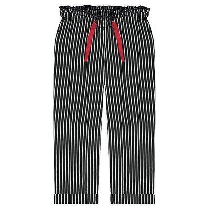 Pantalon en double jersey avec rayures et cordons de serrage contrastés