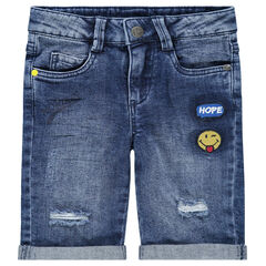 Bermuda en jeans avec usures et badges ©Smiley