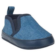 Baskets basses effet jeans à élastiques