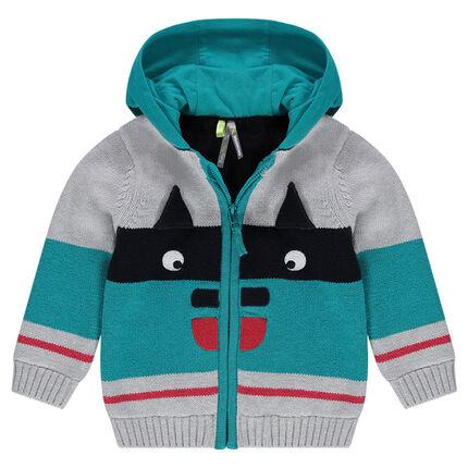 Veste à capuche en tricot doublé sherpa