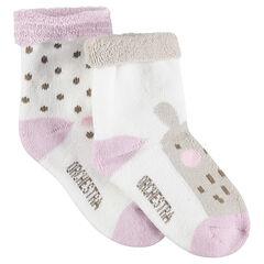 Lot de 2 paires de chaussettes assorties avec pois et animal en jacquard