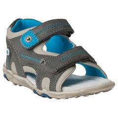 Nu-pieds bi-matière bicolores à scratchs